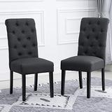 Ansley&Hosho Set of 2 Dining Chair Dark Gray Dining Room Chair Button Decorated Dning Chair Linen Fabric Cover Upholstered Seat for Dining Room Living Room