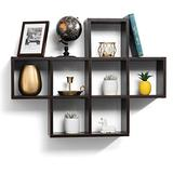 floating shelves with 7 square Cube wall shelves - wall cube Espresso Finish wall mounted shelves - Decorative Contemporary modern floating wall shelves - floating wood shelves Bedroom or Living Room
