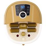 Portable Foot SPA Bath Massager, Electric Therapy Foot Tub, Auto Thermal Heating Foot Shiatsu Massager, with Massage Rollers, LED Touch Display, Adjustable Temperature, Medicine Box, Time, Drainpipe