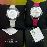 Coach Jewelry | Coach Pink White Embossed Rubber Strap Watch 34mm | Color: Pink/White | Size: Os