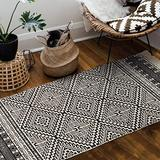 Seavish Cotton Printed Rug, 2'W x 4.3'L Decorative Black and Cream Diamond Symmetry Kilim Small Area Rug Hand Woven Rug for Entryway Thin Throw Rugs for Laundry Room Living Room Dorm