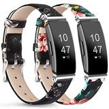 """AK [2 Pack] Leather Bands Compatible with Fitbit Inspire HR/Inspire/Ace 2 Fitness Tracker Soft Sport Leather Wristbands Classic Replacement Strap for Women Men (05 Gray Floral/Red Floral, 5.3""""–8.0"""")"""