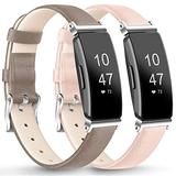"""AK [2 Pack] Leather Bands Compatible with Fitbit Inspire HR/Inspire/Ace 2 Fitness Tracker Soft Sport Leather Wristbands Classic Replacement Strap for Women Men (04 Gray/Light Pink, 5.3""""–8.0"""")"""