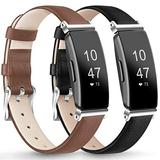 """AK [2 Pack] Leather Bands Compatible with Fitbit Inspire HR/Inspire/Ace 2 Fitness Tracker Soft Sport Leather Wristbands Classic Replacement Strap for Women Men (03 Brown/Black, 5.3""""–8.0"""")"""