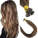 22Inch Stick Tip Hair Extensions Human Hair Brown Highlight Caramel Blonde #4/27 50g/pack I Tip Remy Human Hair Extensions Fusion Hair Extensions Human Hair I Tip for Women