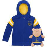 Golden State Warriors Cubcoats Toddler 2-in-1 Transforming Full-Zip Hoodie & Soft Plushie - Royal
