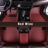 Custom Fitted for Ford Focus 2012-2018 Car Floor Mats Full Covered Leather Front and Rear All Weather Floor Mat Red-wine color