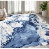 Abani Rugs Blue & Beige Abstract Liquid Area Rug Contemporary Style, ARTO Collection   Turkish Made Superior Comfort & Construction   Stain Shedding Resistant, 4' x 6' Rectangle