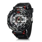 Men's Sport Watch Chronograph #A2801 by IXHIM – Multifunctional, Dual Digital & Analog Time Display Casual Outdoor Watch - Racing Design - 100m 330 ft Water Resistant - Black PU Band (Red)