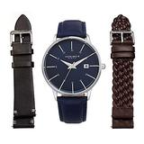 Akribos XXIV Men's Interchangeable Watch Set - 3 Leather Straps, 2 Smooth Leather and Braided Strap with Capsi Pins for Easy Swap - AK1104 (Blue Dial 3 Straps Blue, Black & Brown)