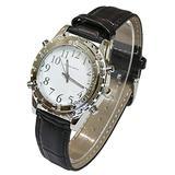 Blekon Collections Quartz Womens Classic Talking Watch Luminox Hands Black Leather Strap Watch