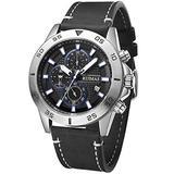 Ruimas Casual Leather Strap Watches Men Luxury Chronograph Quartz Watch Man Fashion Waterproof Army Sports Wristwatch Male