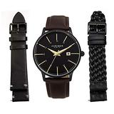 Akribos XXIV Men's Interchangeable Watch Set - 3 Leather Straps, 2 Smooth Leather and Braided Strap with Capsi Pins for Easy Swap - AK1104 (Black Dial 3 Straps Black and Brown)