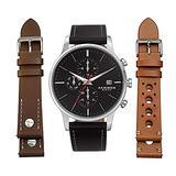 Akribos XXIV Men's Multifunction Dual Time Zone Watch Set - 3 Interchangeable Leather Straps, with Capsi Pins for Easy Swap - AK1105 (Silver Case Black Dial 3 Straps Black, Tan & Brown)
