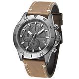 Ruimas Chronograph Quartz Watches Men Luxury Waterproof Leather Strap Quartz Watch Man Fashion Army Sports Wristwatch Male