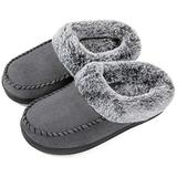 ULTRAIDEAS Women's Cozy Memory Foam Moccasin Suede Slippers with Fuzzy Plush Faux Fur Lining, Ladies' Slip on House Shoes with Indoor Outdoor Anti-Skid Rubber Sole,Light Grey,9-10