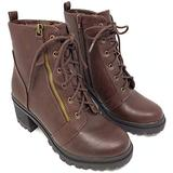 Soda Boots Women's Brown Low Faux Leather Chunky Heel Ankle Booties (8, Brown Low)