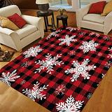 Christmas Area Rugs 5x7, Area Rugs for Living Room Bedroom, Large Area Rugs Snowflakes Red Black Buffalo Plaid
