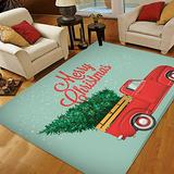 Christmas Area Rugs 5x7, Area Rugs for Living Room Bedroom, Large Area Rugs Retro Red Pickup Truck with Christmas Tree Vintage