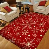Christmas Area Rugs 5x7, Area Rugs for Living Room Bedroom, Large Area Rugs Christmas Snowflakes On Dark Red