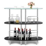 COSTWAY 3-Tier Glass Liquor Bar Cabinets, Wine Bar Storage with Tempered Glass Counter Top and Metal Frame, Bar Unit with 2 Shelves, Bar Organize Ideal for Home/Kitchen/Bar/Pub