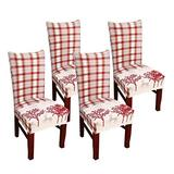 Christmas Dining Room Chair Covers, Soft Fabric Removable Washable Kitchen Chair Covers,Christmas Kitchen Chair Covers Protector for Dining Room Hotel Ceremony 4 PCS