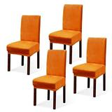 Argstar 2,4,6 Pack Dining Rooms Chairs Covers Velvet, Chair Cover in Dining Room Velvet, Parsons Chair Slipcover Velvet, Armless Chair Cover for Dining Room, Kitchen Chair Cover Set of 4, Orange