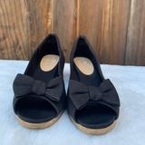 American Eagle Outfitters Shoes | American Eagle Black Slip On Peep Toe Wedge Heel | Color: Black/Brown | Size: 2bb