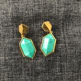 Anthropologie Jewelry | Anthropologie Turquoise Stone Drop Earrings | Color: Gold | Size: Os