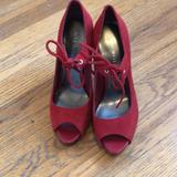Nine West Shoes   Brand New Nine West Red Suede Peep Toe Pumps.   Color: Red   Size: 5.5