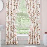 Rosemary Floral Tailored Curtain Pair Blush 82 x 84, 82 x 84, Blush