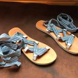 American Eagle Outfitters Shoes   American Eagle Lace-Up Sandals   Color: Blue/Tan   Size: 8