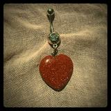 Urban Outfitters Jewelry | Belly Ring Gold Sandstone Dangle Heart | Color: Gold/Orange | Size: Os