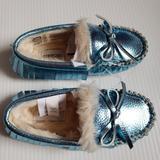 J. Crew Shoes | Blue Metallic Jcrew Moccasins | Color: Blue | Size: 8g