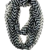 Free People Accessories | Black White Zig-Zag Stripe Infinity Scarf | Color: Black/White | Size: Os