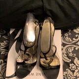 Nine West Shoes   Black Satin Sandals   Color: Black   Size: 9.5