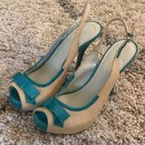 Nine West Shoes | Brand New Nine West Peep Toe Heels | Color: Green/Tan | Size: 9