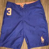 Polo By Ralph Lauren Swim | Boys 18 Polo Navy Swim Trunks Shorts Xl Orange | Color: Blue/Orange | Size: Xlg