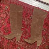Urban Outfitters Shoes | Brown Suede Boots With Curved Heel! | Color: Brown | Size: 8