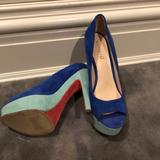 Nine West Shoes | Blue Velvet Pumps | Color: Blue/Green | Size: 8