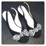 Nine West Shoes | Brand New Nine West Peep Toe Heel Slingback | Color: Black/White | Size: 7.5