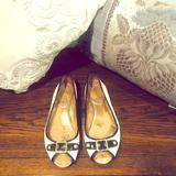Coach Shoes   Black And Cream Leana Peep-Toe Coach Flats   Color: Black/White   Size: 8