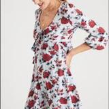American Eagle Outfitters Dresses | Ae Floral Babydoll Mini Dress | Color: Blue/Red | Size: Xsp