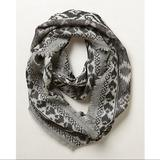 Anthropologie Accessories | Anthropologie Norfolk Jacquard Infinity Scarf | Color: Cream/Gray | Size: Os