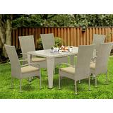 East West Furniture GUOS703A 7Pc Outdoor Natural Color Wicker Dining Set Includes a Patio Table and 6 Balcony Backyard Armchair with Linen Fabric Cushion