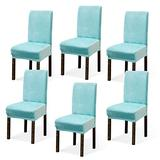Argstar 2,4,6 Pack Dining Rooms Chairs Covers Velvet, Chair Cover in Dining Room Velvet, Parsons Chair Slipcover Velvet, Armless Chair Cover for Dining Room, Kitchen Chair Cover Set of 6, Sky Blue