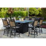 Charlton Home® Dartmore 9 Piece Bar Height Dining Set w/ Firepit Metal in Brown, Size 48.0 H x 64.0 W x 64.0 D in   Wayfair