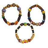 Wood and recycled glass beaded stretch bracelets, 'Eco Friends' (set of 3)