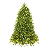 Costway 7.5 Feet Pre-lit PVC National Christmas Fir Tree with LED Light and Stand