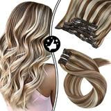 Moresoo Remy Clip in Human Hair Extensions 14 Inch Highlighted Blonde Clip in Hair Extensions Double Weft 100% Remy Human Hair Extensions Blonde and Brown Clip in Extensions #9A/60 70G/5Pcs